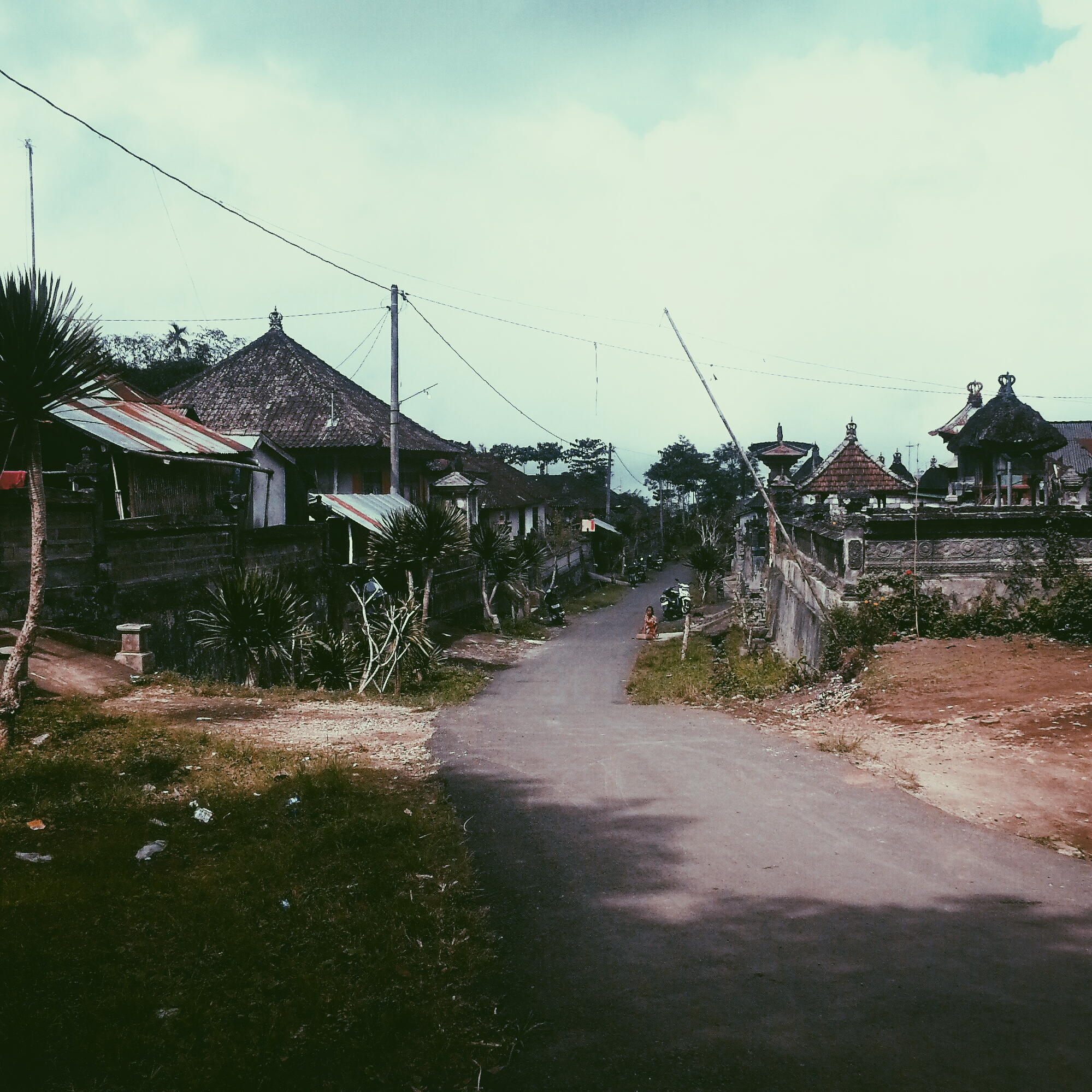 A street in the nearby village