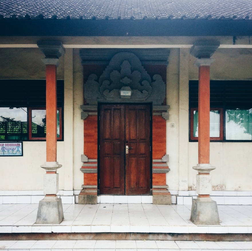 Classroom entrance with Balinese-style features