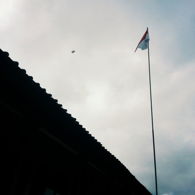 Flag post in front of the classroom block