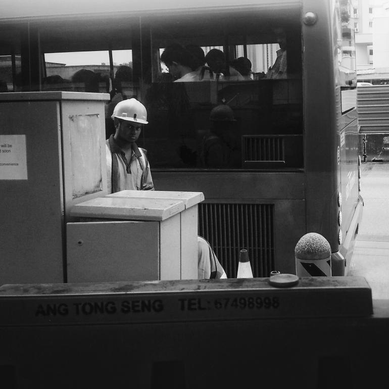 Construction worker rain.