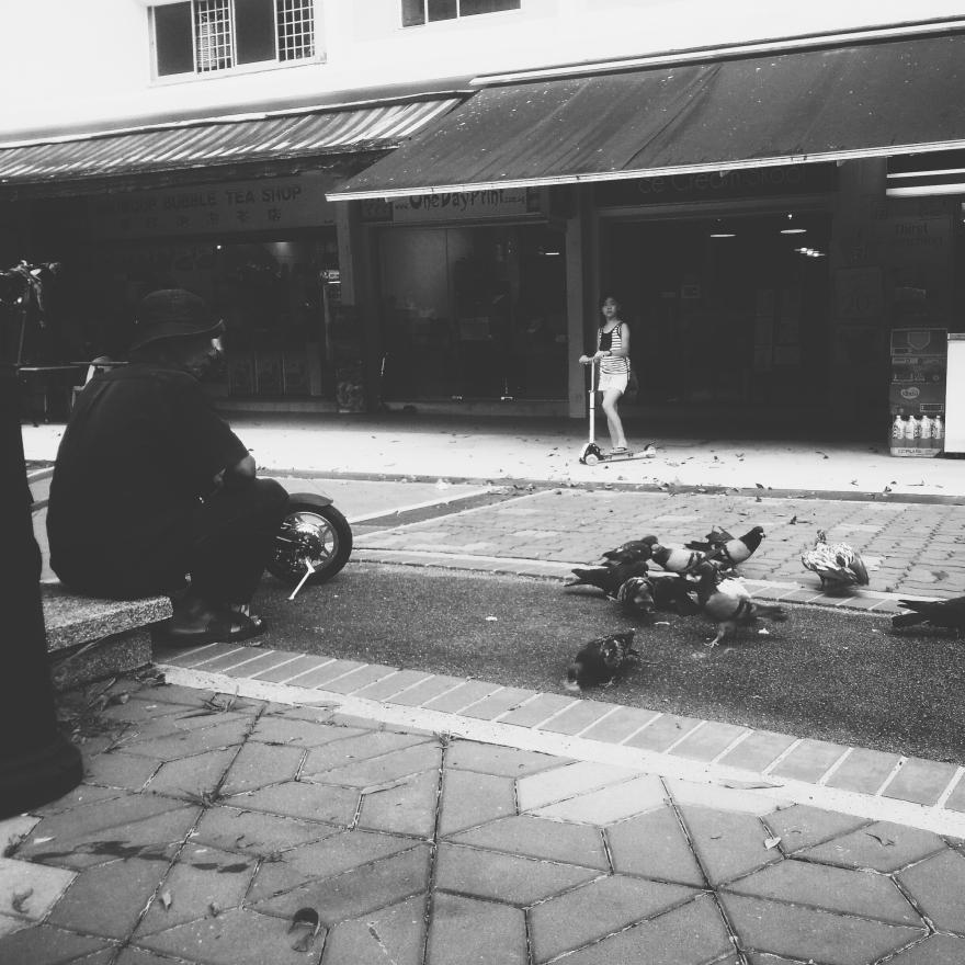 Man feeding pigeons.