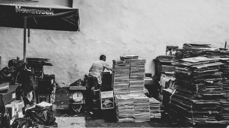 Cardboard collector in Telok Ayer.