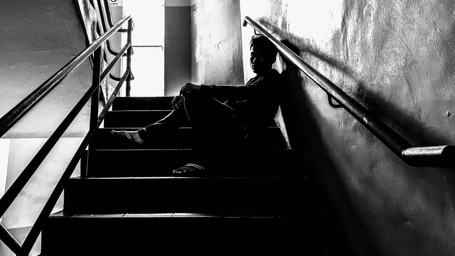 Danish Danial on the staircase shot.